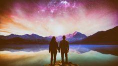 Fantasy Landscape  Mountain Couple Love Romantic Stars Fantasy Wallpaper