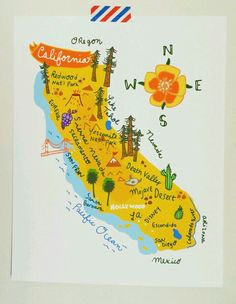 California illustrated map- for our road trip Travel Maps, Travel Posters, Illustrations, Illustration Art, Nevada, California Map, California Pictures, California Poppy, Art Carte