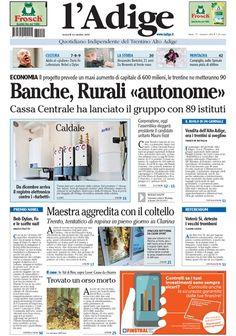 l'Adige in edicola: prima pagina | l'Adige.it