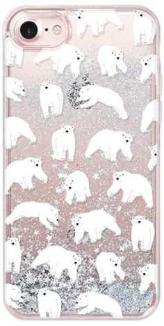 Casetify iPhone 7 Glitter Case - POLAR BEARS by Katie Reed #Casetify