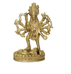 Mahakali Standing On Shiva Idol In Brass Religious God Sculpture Festival