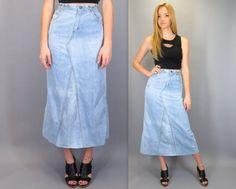 "Vintage 70s Landlubber High Waisted Long Midi Maxi Blue Jean Skirt Light Wash Soft Faded Denim Hippie Boho 1970s Festival 26"" Waist XS Small by Blue FridayVintage"