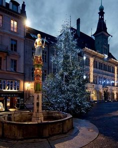 Place de la Palud Christmas tree, Lausanne, Switzerland | by matthieu valentin Lausanne, Basel, Blues Traveler, Lake Geneva, Zermatt, Great Memories, Places To See, Travel Inspiration, Beautiful Pictures
