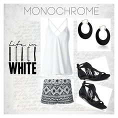 """""""Monochrome - Black and White"""" by freckled-gypsy on Polyvore featuring Alice + Olivia, Dondup, Kendall + Kylie, Bling Jewelry and monochrome"""