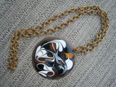 Mid Century Enamel Pendant Necklace signed with 27 by Esoterique50, $40.00