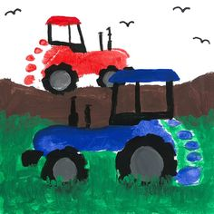 Cute footprint tractors for Dad Toddler Art, Toddler Crafts, Preschool Crafts, Footprint Art, Projects For Kids, Art Projects, Crafts For Kids, Art Drawings For Kids, Father's Day