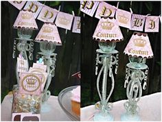 juicy couture inspired party girls girly pink happy birthday banner water bottle labels cupcake wrappers toppers and more