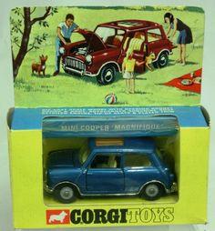 Corgi Toys Boxed Corgi Toys 334 1968-70 Mini Cooper 'Magnifique' metallic blue body, cast wheels, sunshine roof in window display box E+E (model is near mint, box has slight age wear)