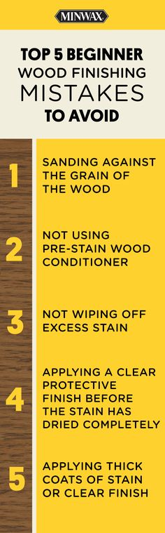 Are you new to wood finishing? Make sure to avoid these mistakes to get the best results. Click for more tips and DIY ideas from Minwax® wood finishing expert Bruce Johnson. Woodworking Finishes, Woodworking Shop, Woodworking Plans, Woodworking Projects, Diy Furniture Projects, Wood Furniture, Diy Wood Projects, Wood Crafts, Wood Finishing