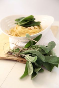 pasta with butter and sage Butter Pasta, Kitchen Stories, Hotel Interiors, Food Photo, I Foods, Sage, Salvia, Food Photography