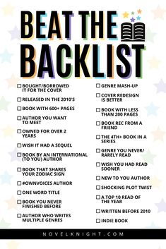 Welcome to the 2020 edition of the Beat the Backlist reading challenge! A new year, a new TBR pile, and a new set of readers tackling their backlist! This reading […] Writing Challenge, Book Challenge, Any Book, Love Book, Reading Lists, Book Lists, Inspirational Books To Read, Book Suggestions, Reading Quotes