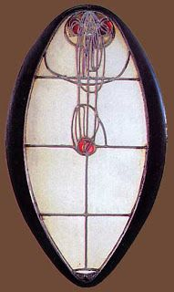 Charles Rennie Mackintosh (1868-1928) - Front Door Window. Glass with Lead Came and Wood Frame. Glasgow School of Art Leaded Glass Window. Glasgow, Scotland. Circa 1897-1908,
