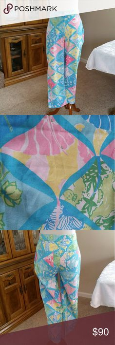Lilly Pulitzer Chino Pants BUNDLE & SAVE!  Cute print Chino featuring fish, shells, seahorses, turtles, and flowers in signature pastel colors. Double button & zippered closure, ankle vents, back pockets (last pic is from Lilly Pulitzer website) Lilly Pulitzer Pants Straight Leg