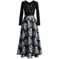 Cut in full length, divided by high waistline, this dress is sure to showcase your most graceful silhouette at the party. The sheer black lace top gently revea…