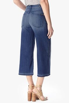 7 For All Mankind, Culotte with Let Down Hem in Medium Broken Twill, medium broken twill, Womens : Denim : Trouser & Flare, FW8155369A