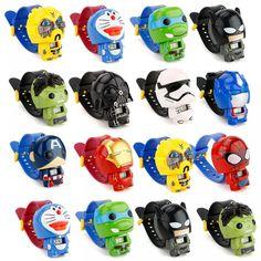 [free ship] Plastic Children Watch Batman Captain America kids watches Nijago Hulkbuster Iron Man Spiderman Toy for Girl Boy ~ ysjgd smart watch