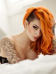 Awesome! Bold mid length colored and shaved #undercut #hairstyle #hair #womentriangle