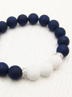 Nautical Jade Bead Bracelet with Sterling Silver
