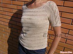 Привет всем!  Представляю вашему вниманию летний ажурный пуловер, связанный по мотивам он-лайна Натальи, в СМ motya2704 - http://www.stranamam.ru/