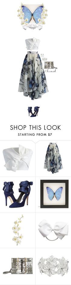 """Chicwish butterfly"" by blueeyed-dreamer ❤ liked on Polyvore featuring Chicwish, Alice + Olivia, Pier 1 Imports, Nancy Gonzalez, M&Co, skirt, croptop, Heels, chicwish and butterfly"