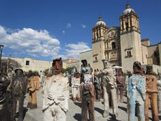 "Alejandro Santiago's ""2501 Migrantes"" (2501 migrants) art installation in downtown Oaxaca, Mexico."
