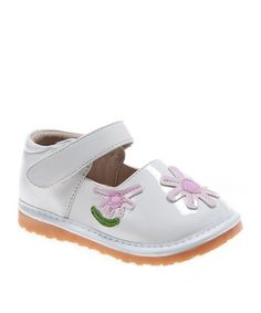 Take a look at this White Blossom Squeaker Mary Jane by littlebluelamb squeaky shoes on #zulily today!