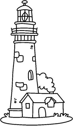 Coloring house of the guard of the lighthouse picture