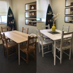 Before and after! IKEA Lisabo table hack.   Did a layer of warm brown and grey dry brushing to create the appearance of a darker wood grain then dry brushed again over the whole thing with white.
