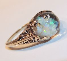 Horace Welch Floating Opal Ring, 14k Yellow Gold Filigree, 1920's-30's