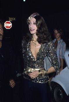 Marisa Berenson, 1978 vintage fashion color photo print ad models magazine designer 70s 80s metallic dress supermodel icon