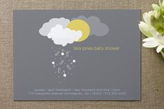 """""""Shower"""" themed baby shower. Lovely, and non-gender specific invite from www.Minted.com."""