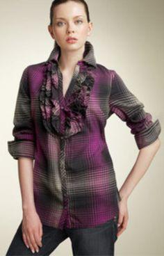 Joie 'Fara' Purple/Pink Plaid Tuxedo Shirt