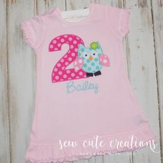 Personalized Owl Birthday Dress Owl Dress Birthday dress number Girls monogram short tank long sleeve custom embroidered sew cute creations