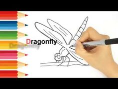 Learn drawing Animals for kids Coloring Dragonfly for toddlers Learn Drawing, Learn To Draw, Drawing Animals, Animal Drawings, Draw Animals For Kids, Kids Tv, Learning Colors, Working With Children, Coloring For Kids
