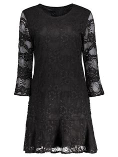 Plus Size Bell Sleeve Lace Mini Dress #women, #men, #hats, #watches, #belts, #fashion, #style