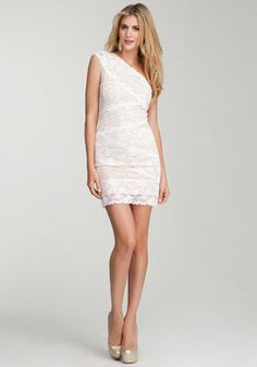 bebe | One Shoulder Mixed Lace Dress