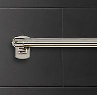 RH's Campaign Towel Bar:Evocative swirled knobs modeled after vintage English library racks inspired our Campaign collection. Bath Fixtures, Plumbing Fixtures, Bathroom Renos, Bathrooms, Basement Bathroom, Master Bathroom, Bathroom Ideas, How To Fold Towels, Home Furnishing Stores