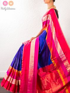 Purple Handwoven Katan Silk Pochampally Saree - HolyWeaves