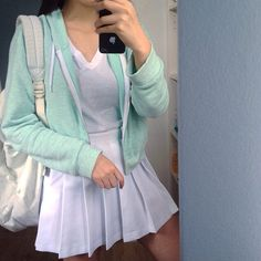 kotone.wi @kotone.wi There are so many...Instagram photo | Pastel Mint Green American Apparel White Tennis Skirt