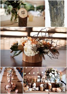 Nice idea to woodburn (or stamp) the table numbers into a piece of branch.  Anna