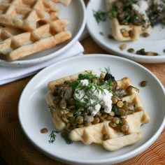 waffles topped with mushrooms, lentils and sunflower seed sour cream ...