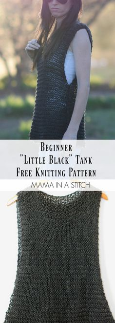 """Easy """"Little Black"""" Tank Top Free Knitting Pattern via Mama In A Stitch Knit. Easy """"Little Black"""" Tank Top Free Knitting Pattern via Mama In A Stitch Knit and Crochet Patterns - Jessica Crochet Summer Tops, Summer Knitting, Easy Knitting, Knitting For Beginners, Knitting Patterns Free, Crochet Patterns, Knitting Sweaters, Sock Knitting, Knitting Tutorials"""