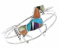Genuine Sterling Silver and Multicolor Inlay Horse Jewelry Cuff Bracelet CW64775 SilverTribe. $118.79