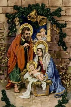 St. Joseph, Mary, and Baby Jesus. (Christmas Nativity vintage postcard)