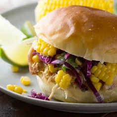 Pulled Honey-Lime Chicken Sandwiches with Corn & Cabbage Slaw - Dan 330 http://livedan330.com/2015/08/28/pulled-honey-lime-chicken-sandwiches-corn-cabbage-slaw/