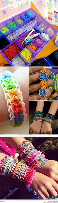 Amazing Rainbow Loom Ideas.  Perfect for my 9 year old Niece whom got one for CHRISTmas 2013.