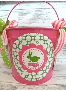 Hot Pink & Green Bunny Easter Pail