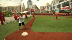 Several lucky youngsters participate in the Play Ball All-Star Tournament at the 2015 T-Mobile All-Star FanFest Backyard Baseball, Wiffle Ball, Baseball Field, All Star, Play, Sports, Hs Sports, Star, Sport