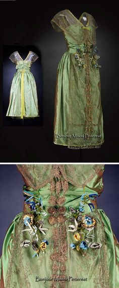 Evening dress, Lucile, ca. 1918–20. Silk, gold-embroidered net, satin binding, silk flowers. Lucile believed that green was the color of hope. National Museums Scotland