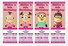 Make the birthday of a Minion fan even more special with these Personalised Girl Minions digital invitation. Everything is completely customizable for your party needs! Just let me know what you would